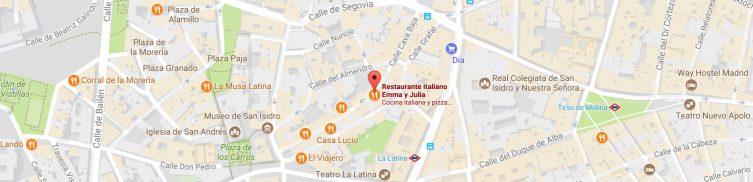 Pizzería Madrid Emma y Julia en la Cava Baja 19 en La Latina